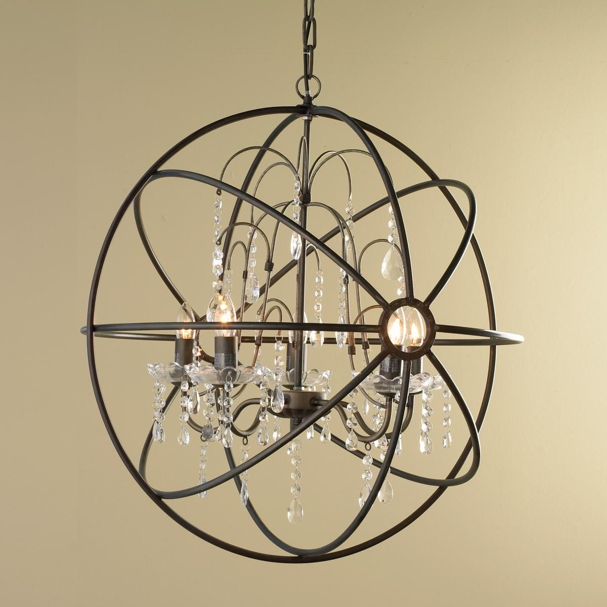 Crystal And Metal Orb Chandelier (View 4 of 15)