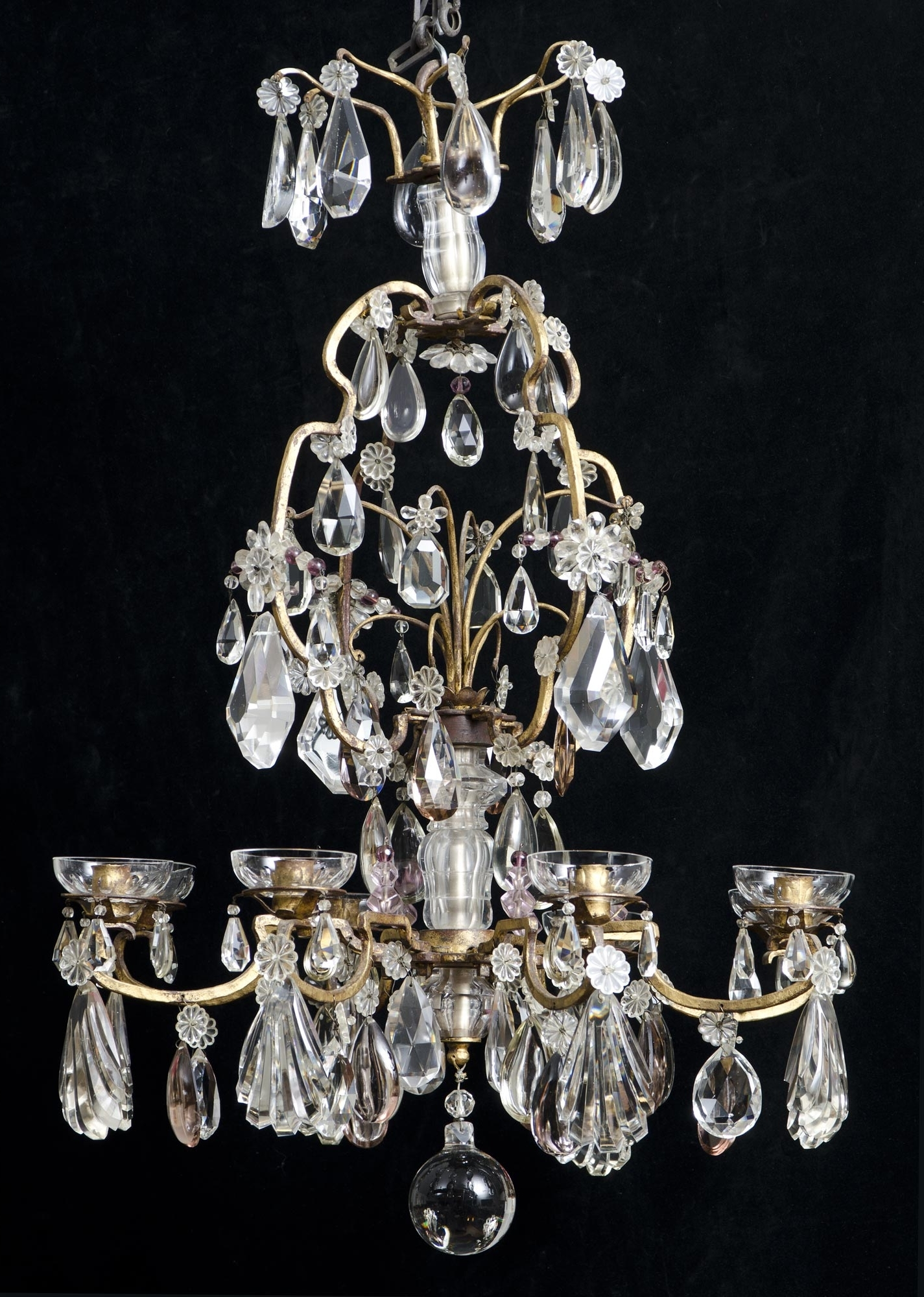 Current French Crystal Chandeliers Intended For Eight Light Antique French Crystal Chandelier (View 11 of 15)