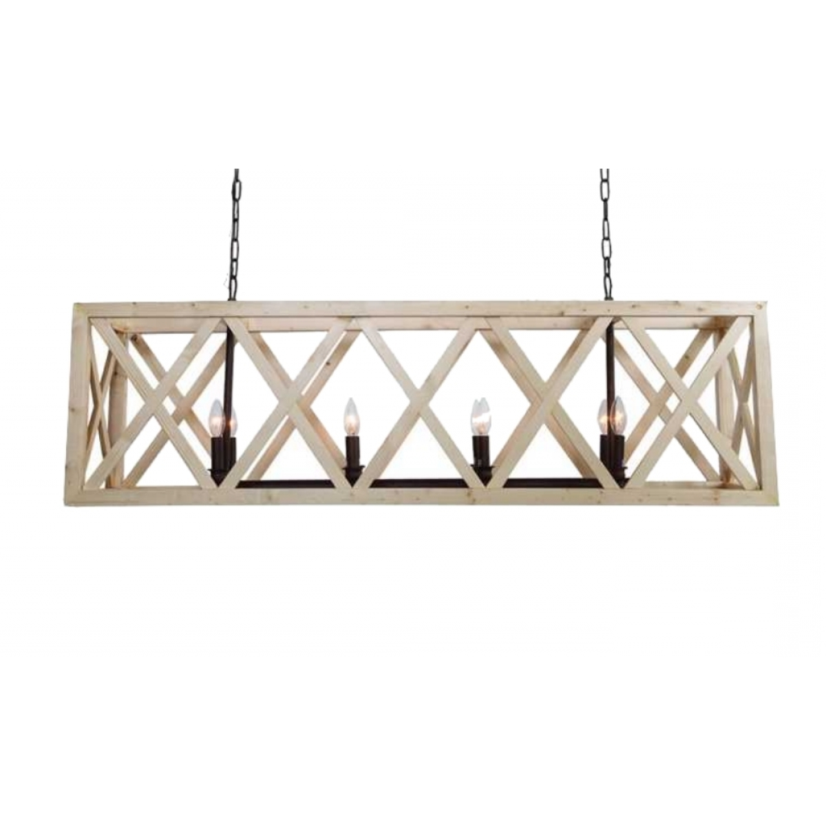 Current French Wooden Chandelier Regarding Large Criss Cross Wooden Rectangular Chandelier American Or French (View 12 of 15)