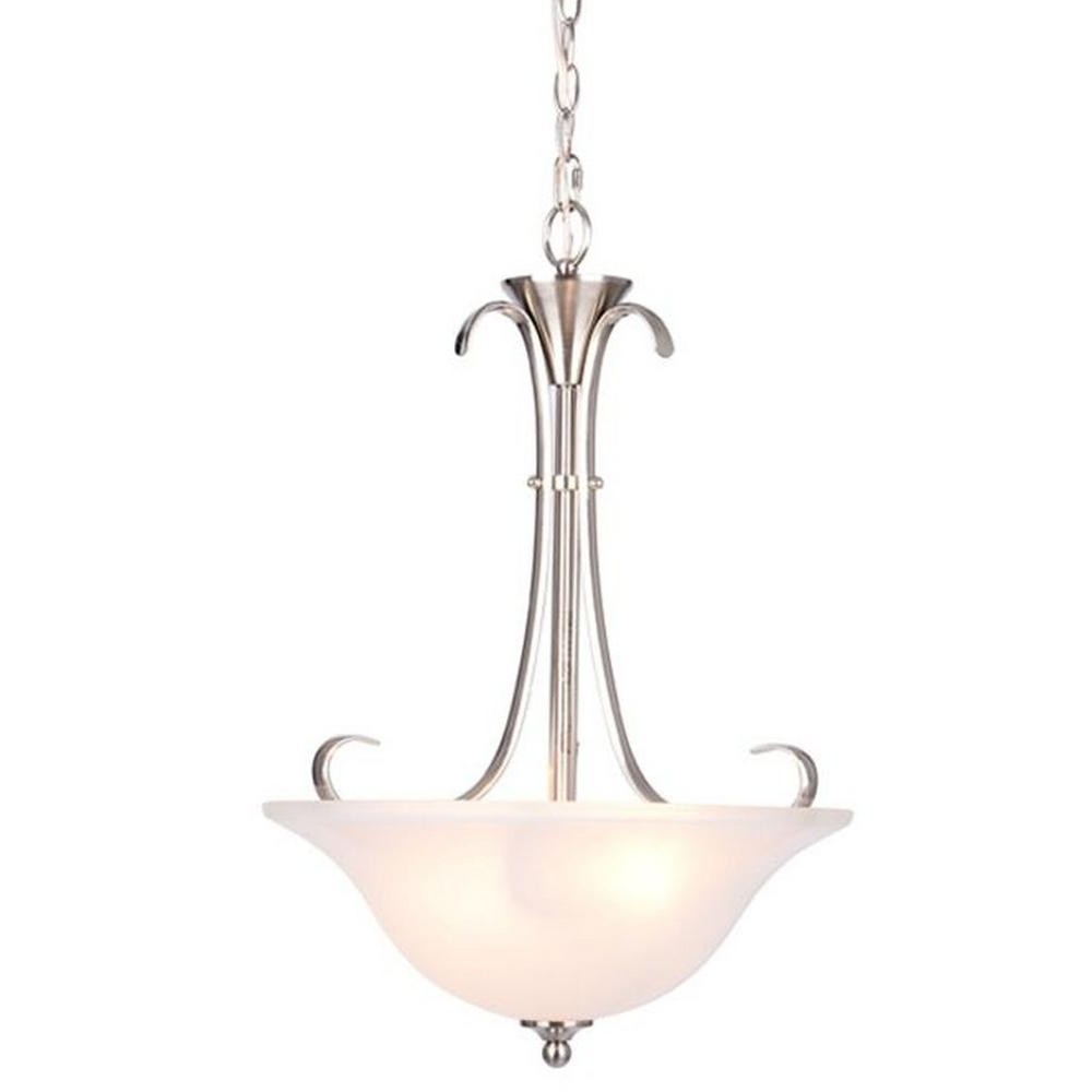Current Hampton Bay Santa Rita 2 Light Brushed Nickel Inverted Pendant With Intended For Inverted Pendant Chandeliers (View 11 of 15)