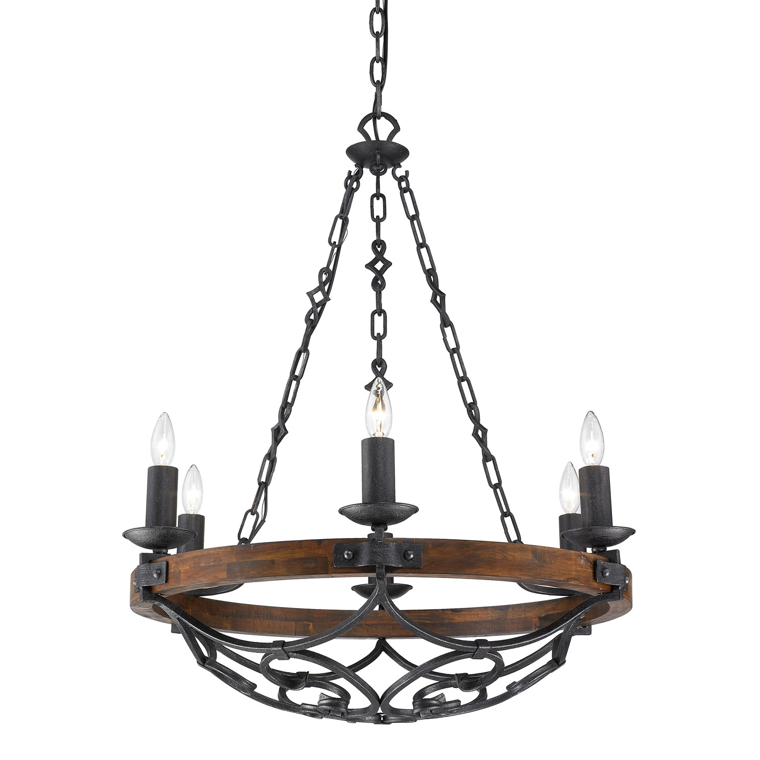 Current Iron Chandelier With Golden Lighting Madera Black Iron Six Light Chandelier On Sale (View 2 of 15)