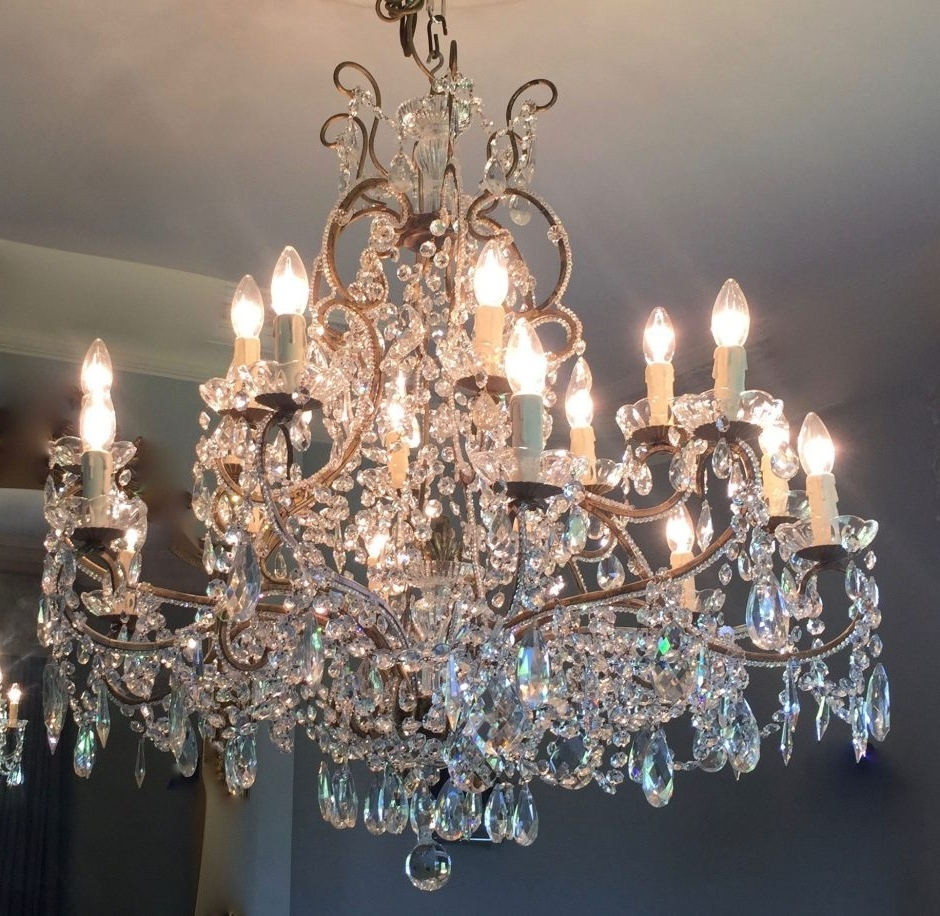 Current Italian Chandeliers Pertaining To Pair Of Gilt Beaded Italian Chandeliers (Fal0201) – Crystal Corner (View 14 of 15)