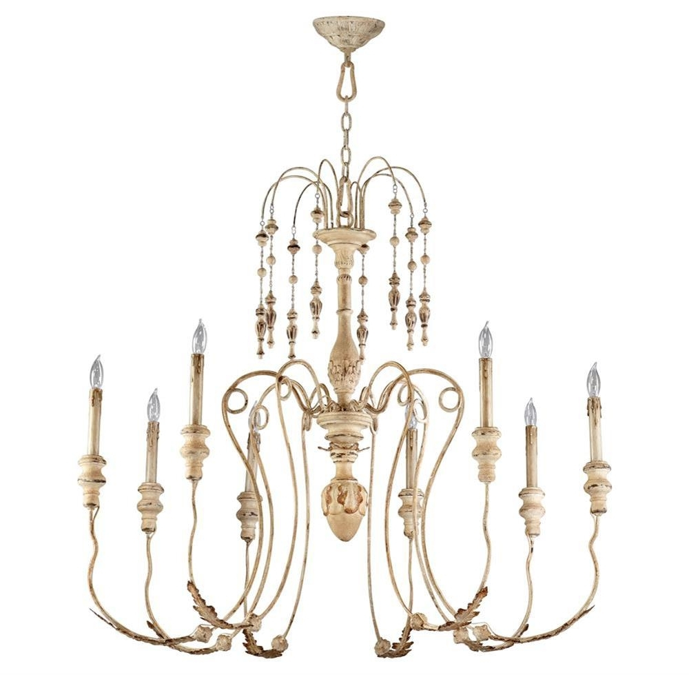 Current Maison French Country Antique White 8 Light Chandelier (View 7 of 15)