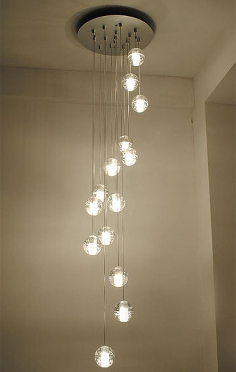 Current Modern Stairwell Led Chandelier Lighting Large Bubble Crystal Ball throughout Long Chandelier Lighting