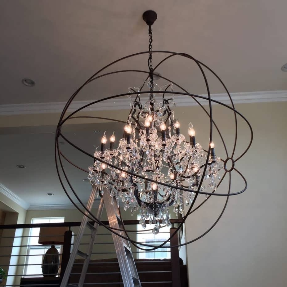 Current Orb Chandeliers Pertaining To Chandelier : Chandelier Lights Pendant Ceiling Lights Large Globe (View 10 of 15)