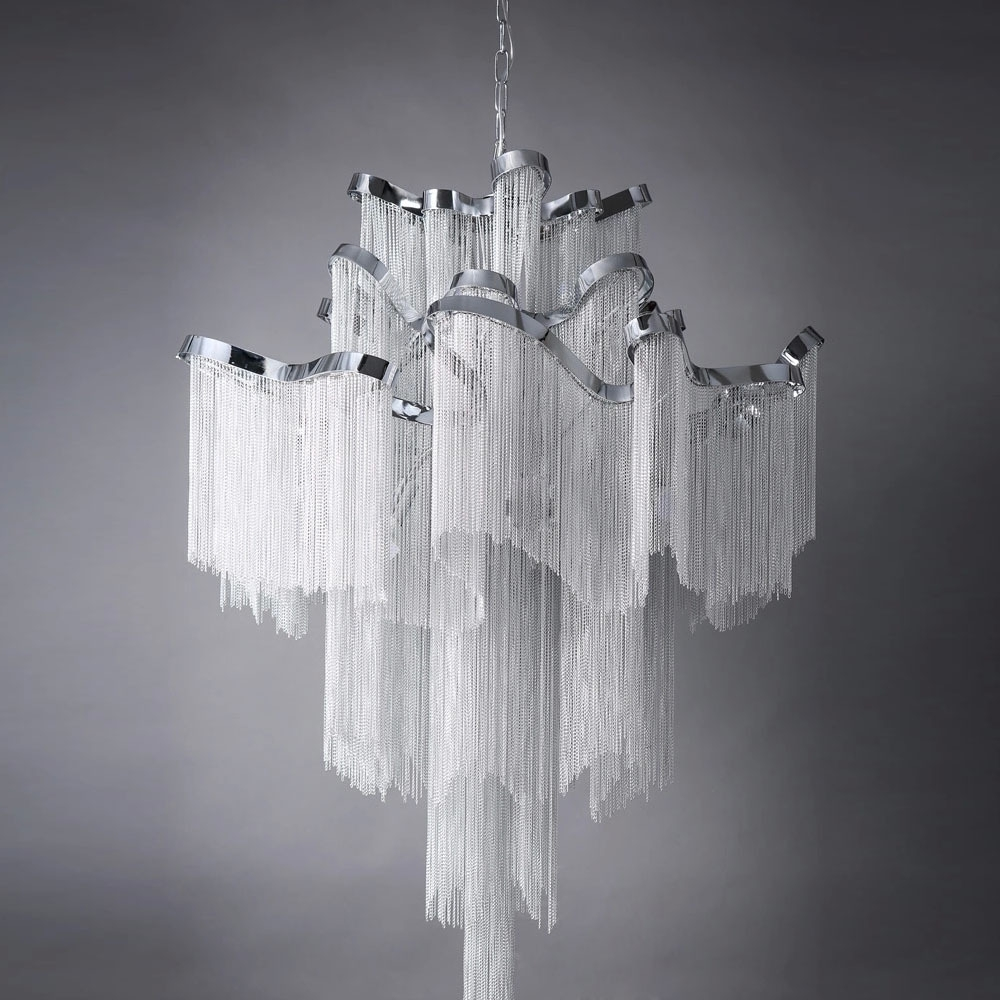 Current Retro European Top Grade Curtain Type Hotel/villa/project Lamp For Waterfall Crystal Chandelier (View 9 of 15)