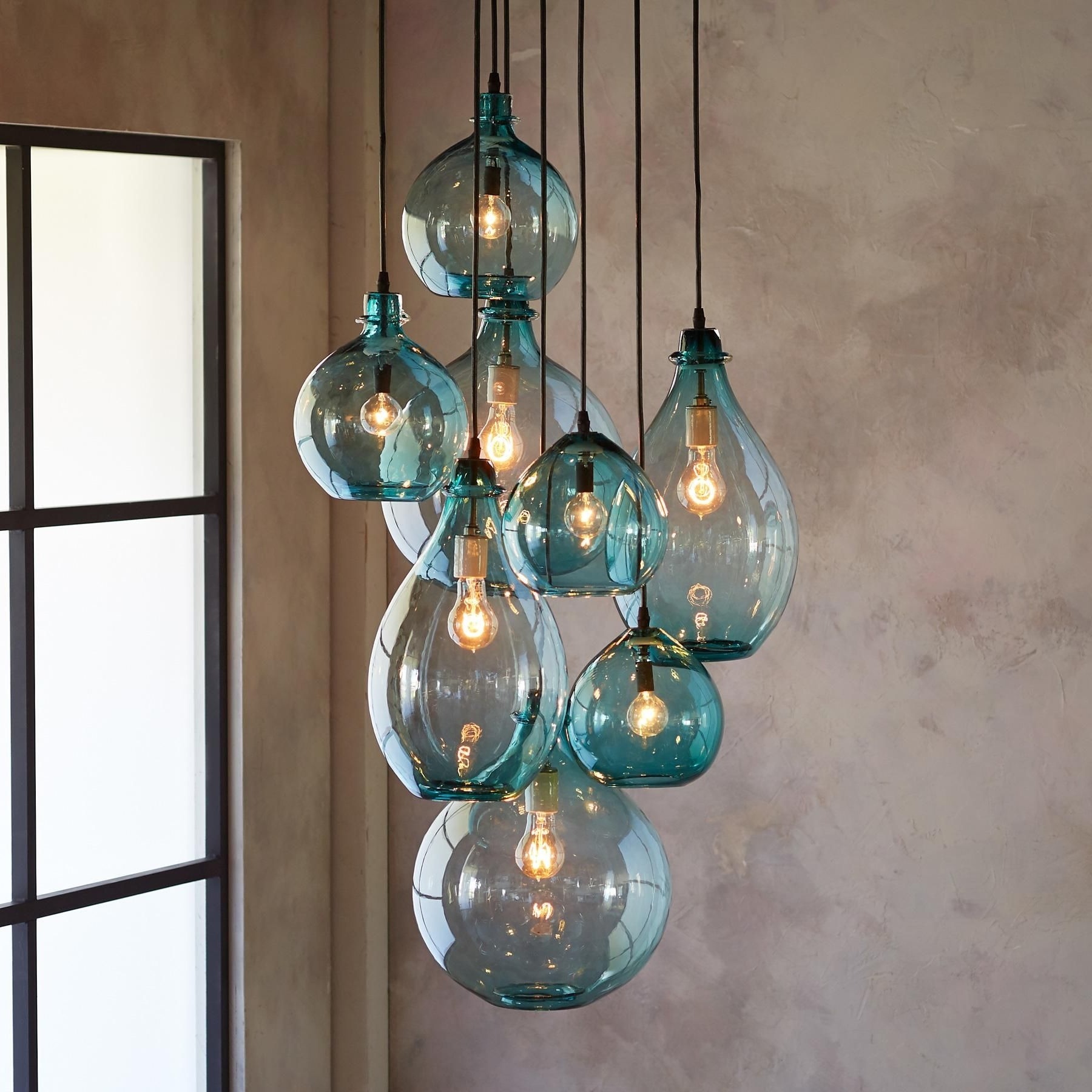 Current Salon Glass Pendant Canopy — Limpid Turquoise Drops Of Hand Blown Intended For Turquoise Bubble Chandeliers (View 2 of 15)