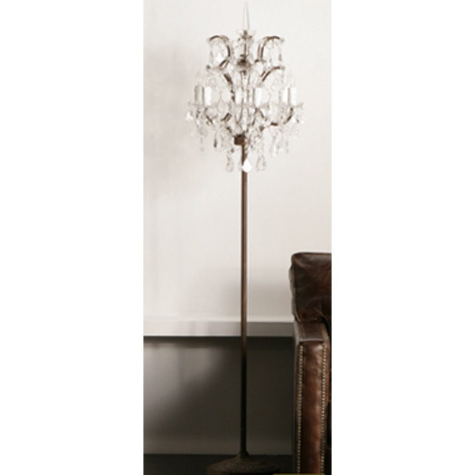 Current Standing Chandelier Floor Lamps Regarding Chandeliers Design : Wonderful Chandelier Standing Lamp Crystal (View 7 of 15)
