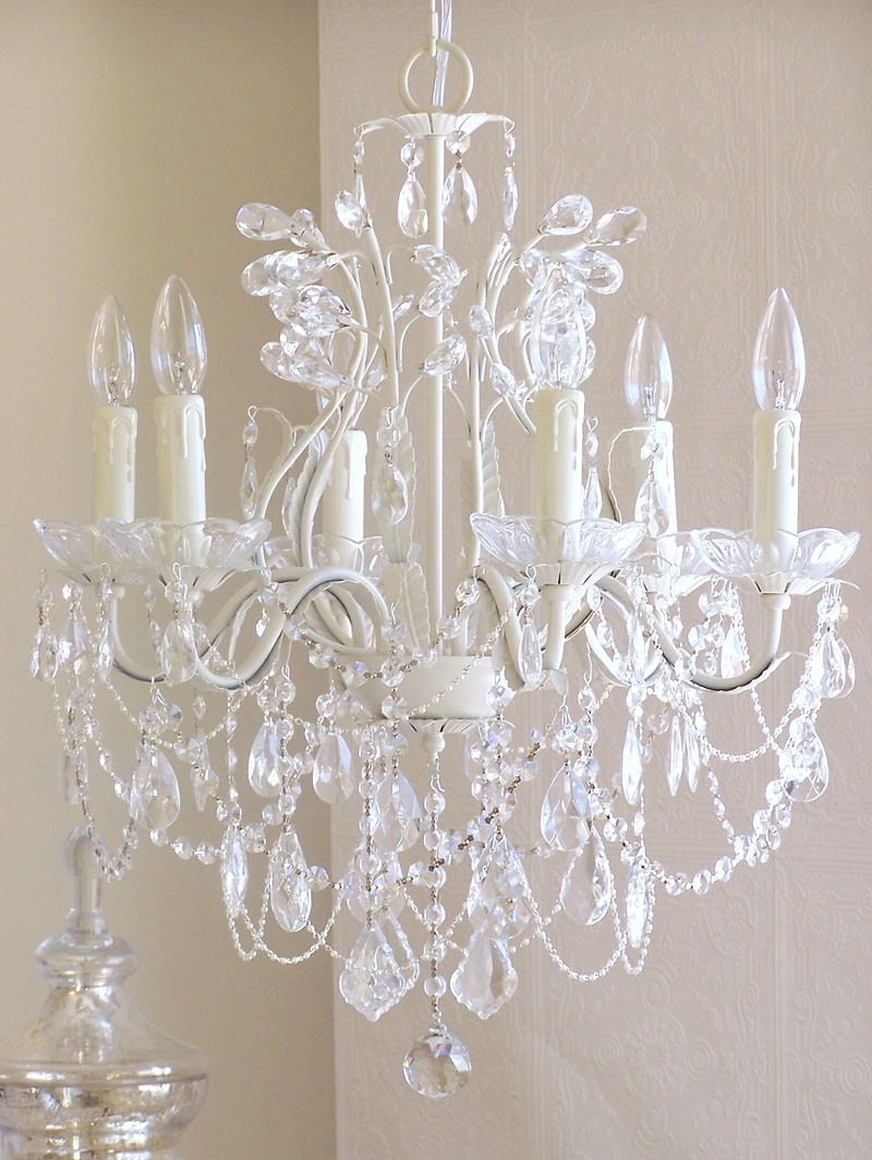 Current White And Crystal Chandeliers Intended For 6 Light Leafy Antique White Crystal Chandelier – Rosenberryrooms (View 5 of 15)