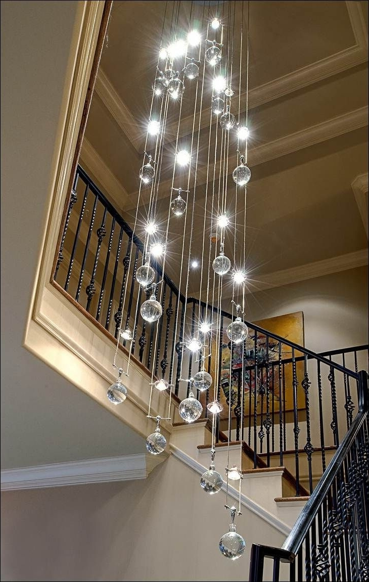 Decoration, Contemporary Crystal Chandelier Decorating Area Around Within Popular Stairwell Chandelier Lighting (View 5 of 15)