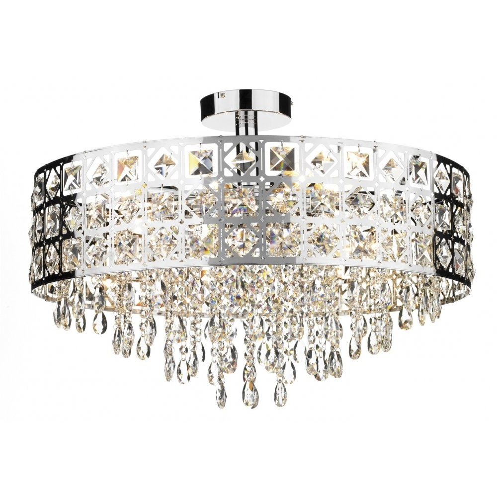 Decorative Modern Flush Ceiling Light With Chrome & Crystal Decoration For Current Modern Chandeliers For Low Ceilings (View 3 of 15)