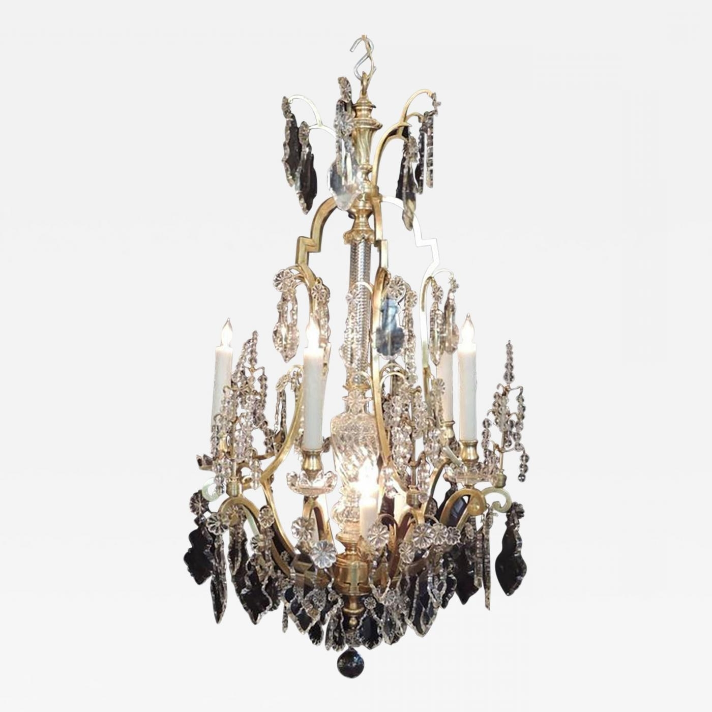 Early 20Th C French Bronze Doré And Lead Crystal Chandelier throughout Popular Lead Crystal Chandelier