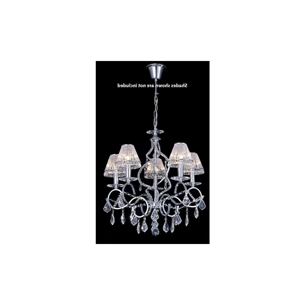 Egyptian Crystal Chandelier With Favorite 5 Light Crystal Chandelier On A Chrome Suspension Chain (View 7 of 15)