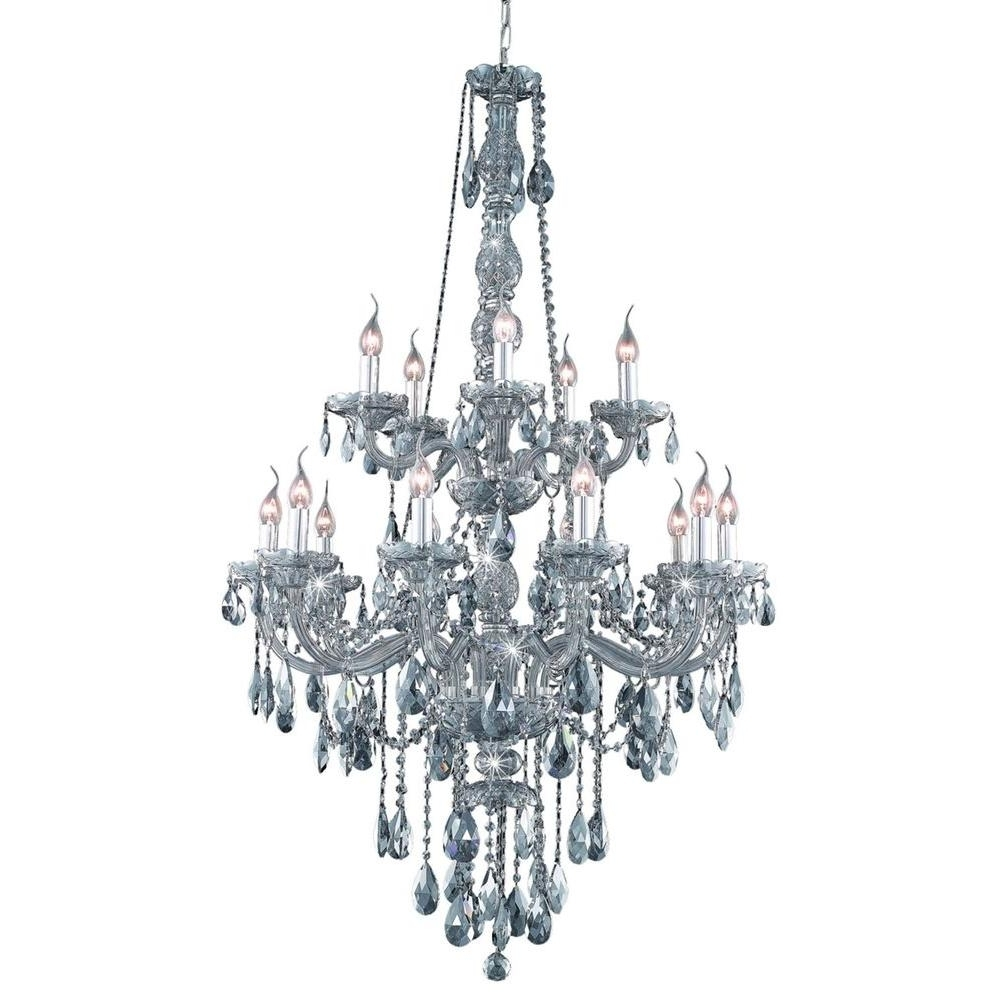 Elegant Lighting 15 Light Silver Shade Chandelier With Grey Crystal Within Famous Grey Chandeliers (View 3 of 15)