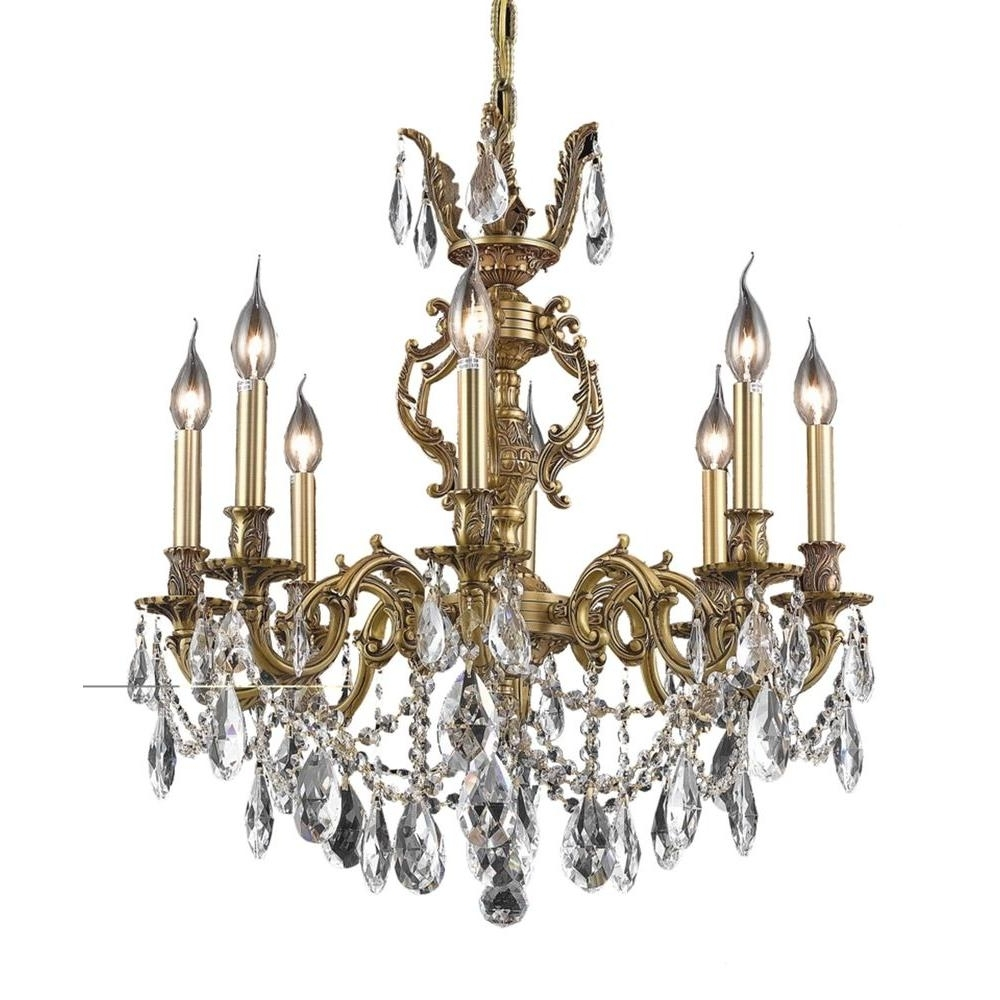 Elegant Lighting 8 Light French Gold Chandelier With Clear Crystal In Well Known French Gold Chandelier (Gallery 5 of 15)