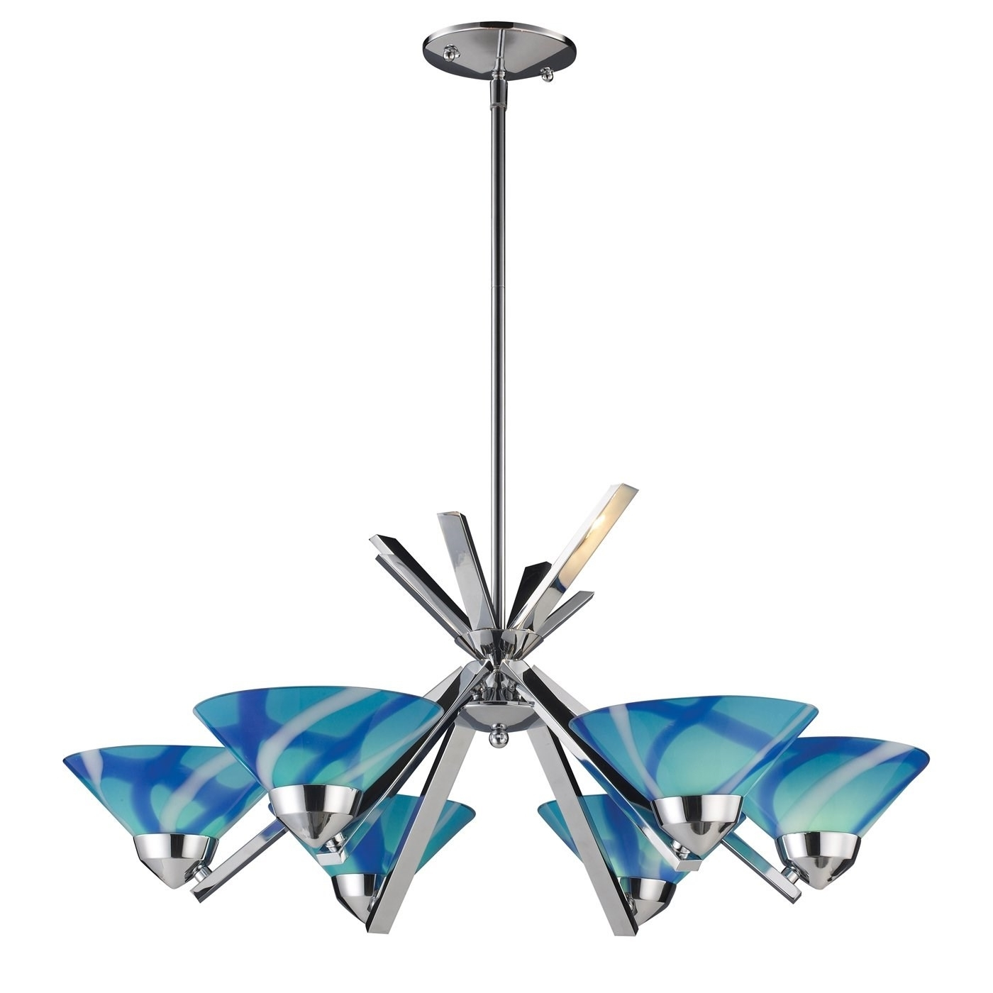 Elk 1475-6Car Refraction 6 Light Chandelier In Polished Chrome With for Most Recent Turquoise Glass Chandelier Lighting
