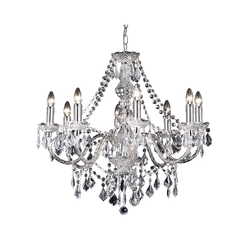 Endon Clarence 308 8Cl 8 Light Pendant Light In Clear Acrylic At Throughout Well Liked Endon Lighting Chandeliers (View 8 of 15)