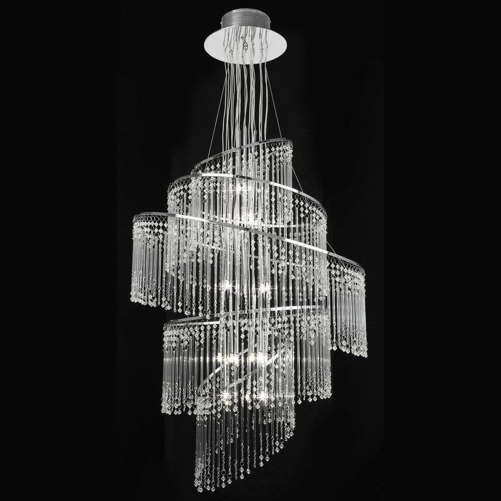 Endon Lighting Camille-24Ch 24 Light Chrome Chandelier With Glass throughout Current Endon Lighting Chandeliers