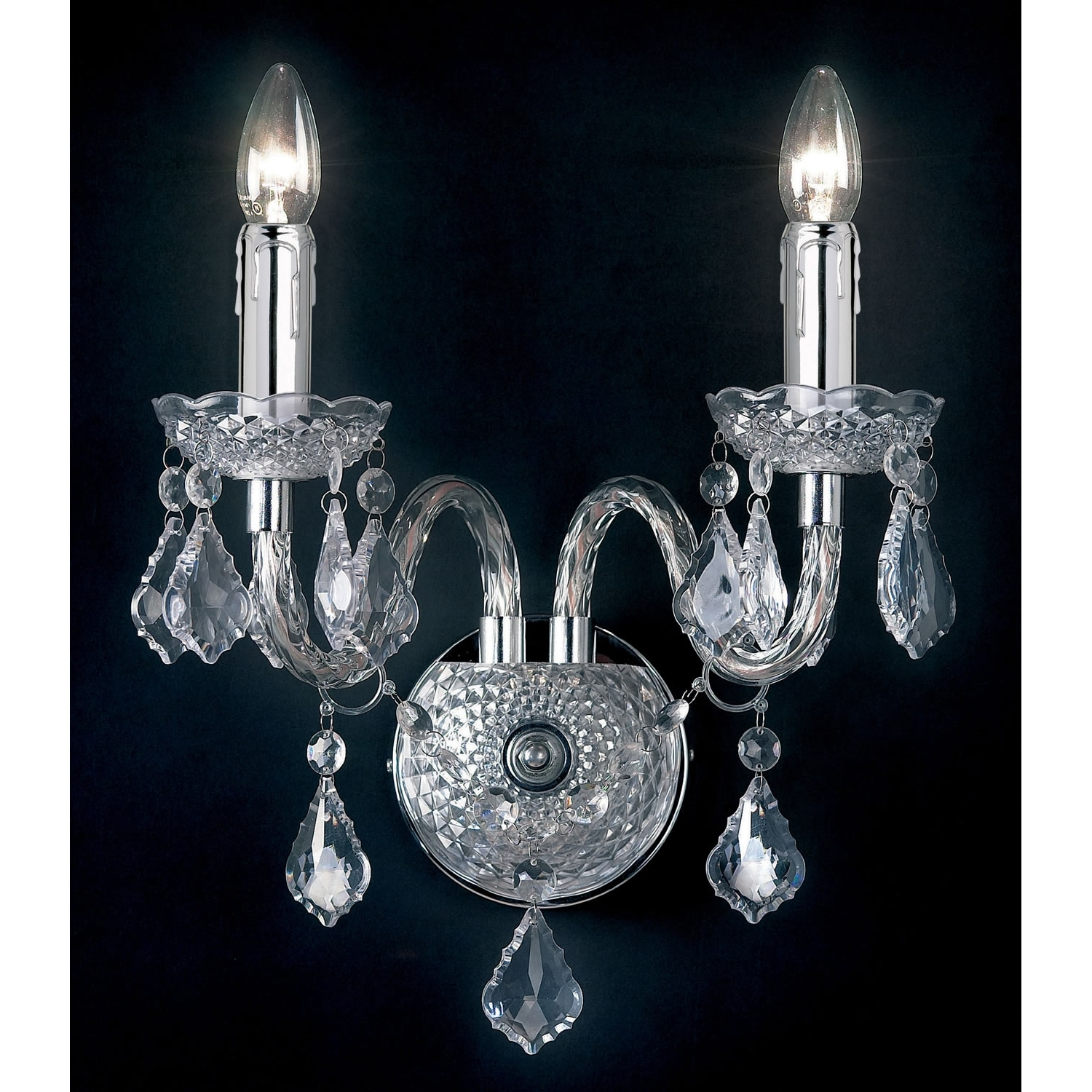 Endon Lighting Chandeliers For Best And Newest Endon Lighting 2 Light Wall Chandelier In Clear E2 80 93 Next Day (Gallery 5 of 15)
