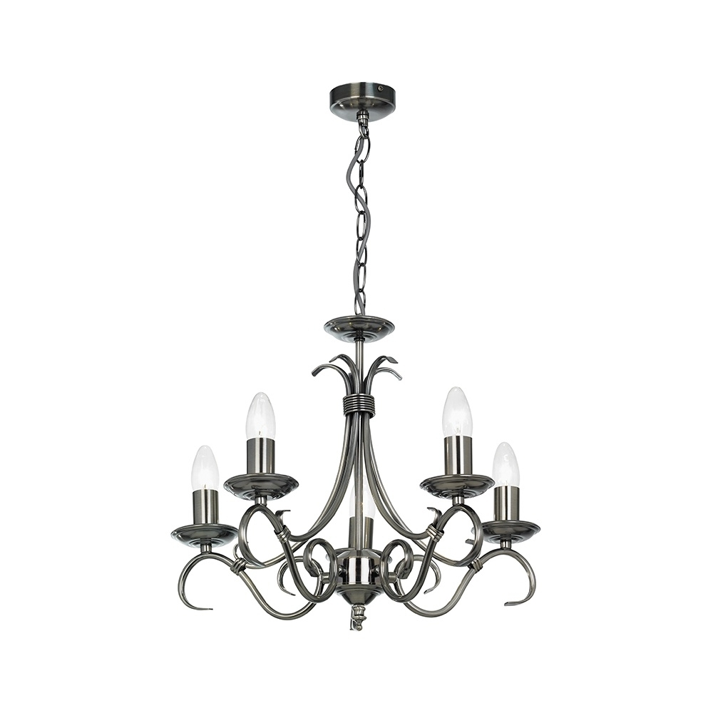 Endon Lighting Chandeliers For Widely Used Endon 2030 5As 5 Light Chandelier In Antique Silver – Lighting From (View 6 of 15)