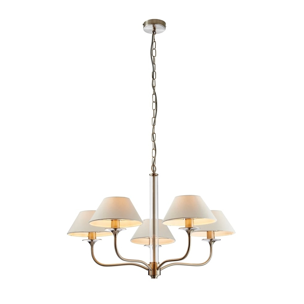 Endon Lighting Kingston 5 Light Ceiling Fitting In Satin Nickel For Preferred Endon Lighting Chandeliers (View 7 of 15)