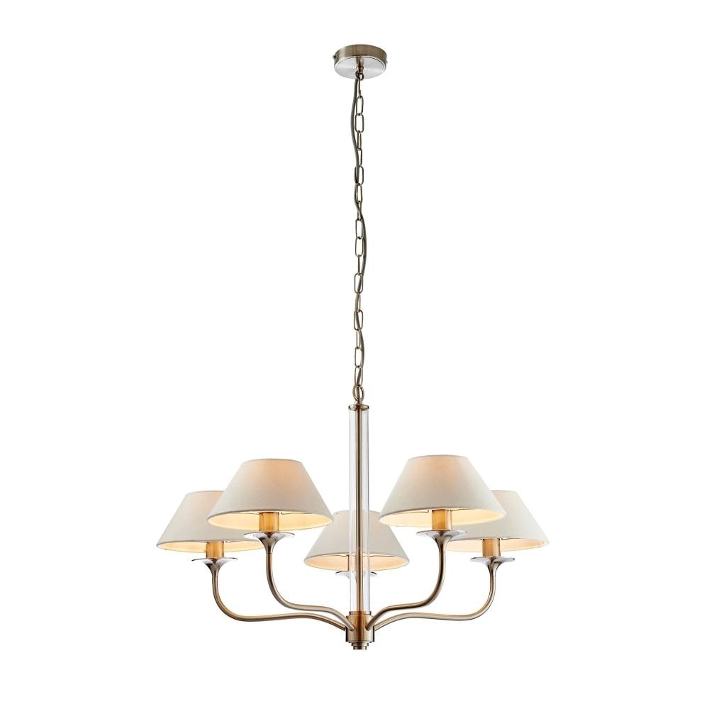 Endon Lighting Kingston 5 Light Ceiling Fitting In Satin Nickel For Preferred Endon Lighting Chandeliers (Gallery 7 of 15)