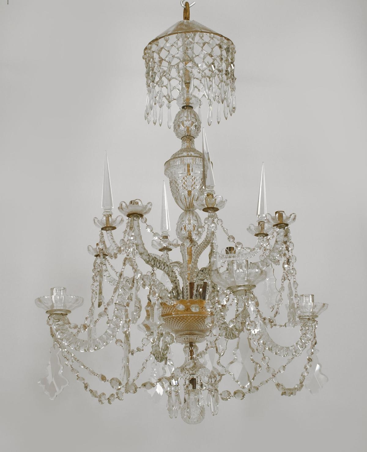 English Georgian 8 Scroll Arm Cut Crystal Chandelier On 2 Tiers With Inside Preferred Georgian Chandeliers (Gallery 14 of 15)