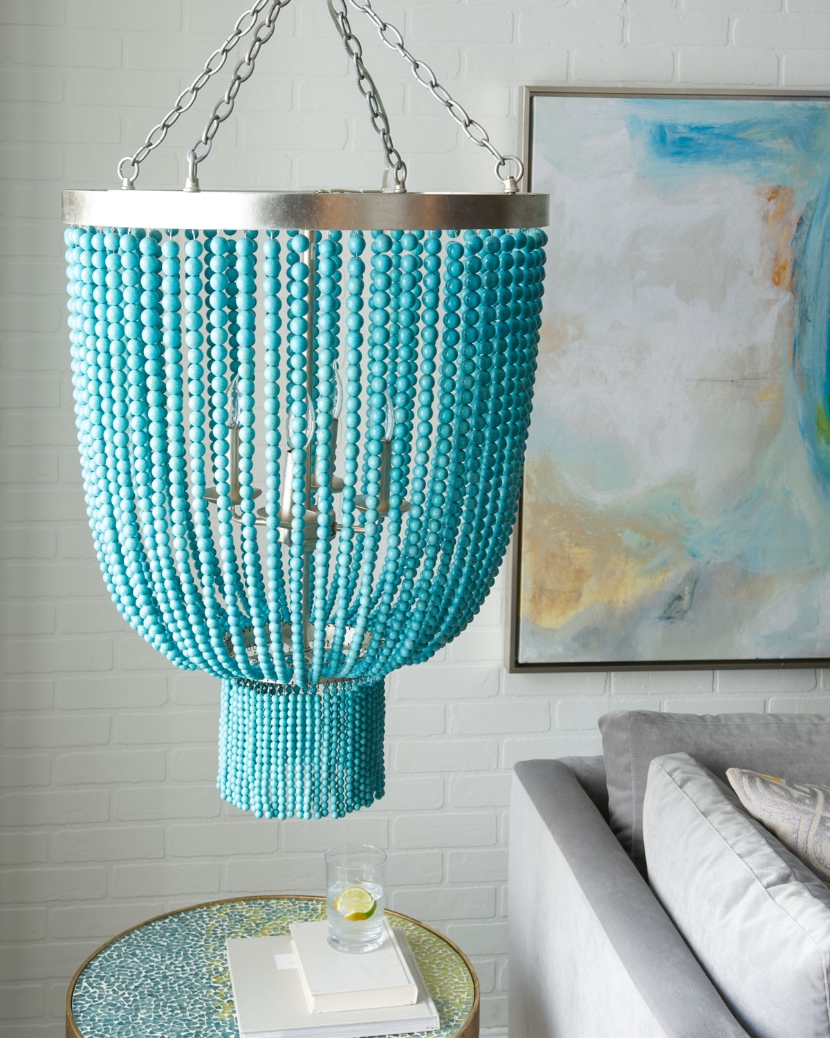 Everything Turquoise regarding Turquoise Beads Six-Light Chandeliers