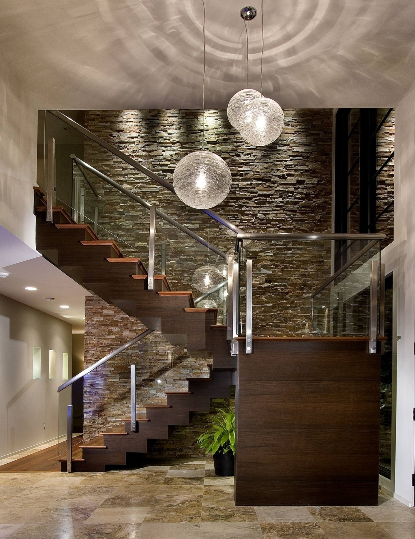 Extra High Ceilings, Glass Stairwell, Long Chandeliers, Enters Into inside Best and Newest Stairwell Chandeliers