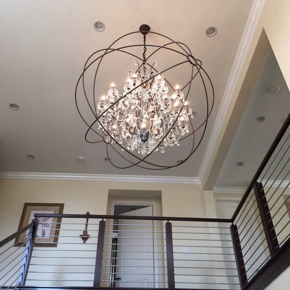 Extra Large Chandeliers Within Current Chandelier : Chandelier Silver Orb Chandelier Contemporary Crystal (View 5 of 15)