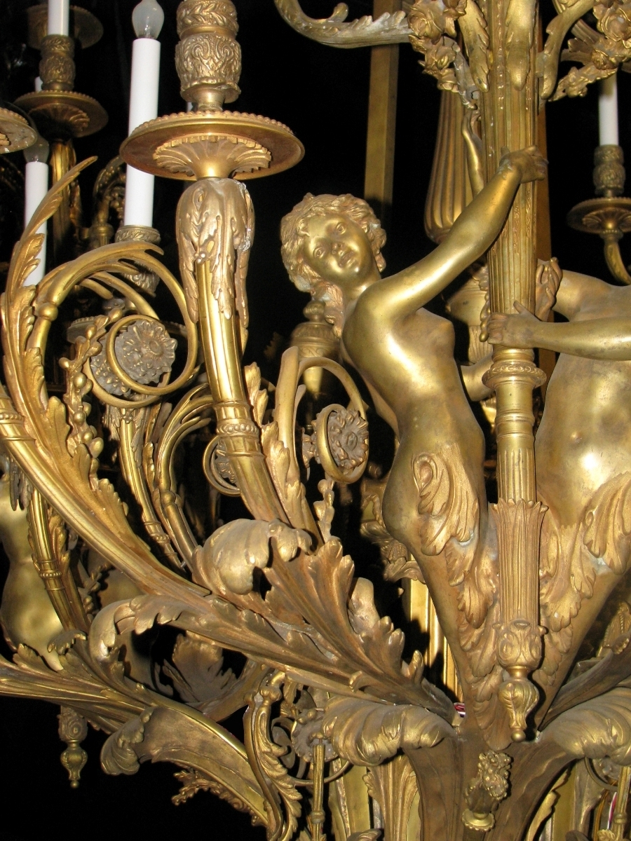 Extraordinary Antique French Louis Xv Style Bronze Figural 39 Light In 2017 French Bronze Chandelier (Gallery 3 of 15)