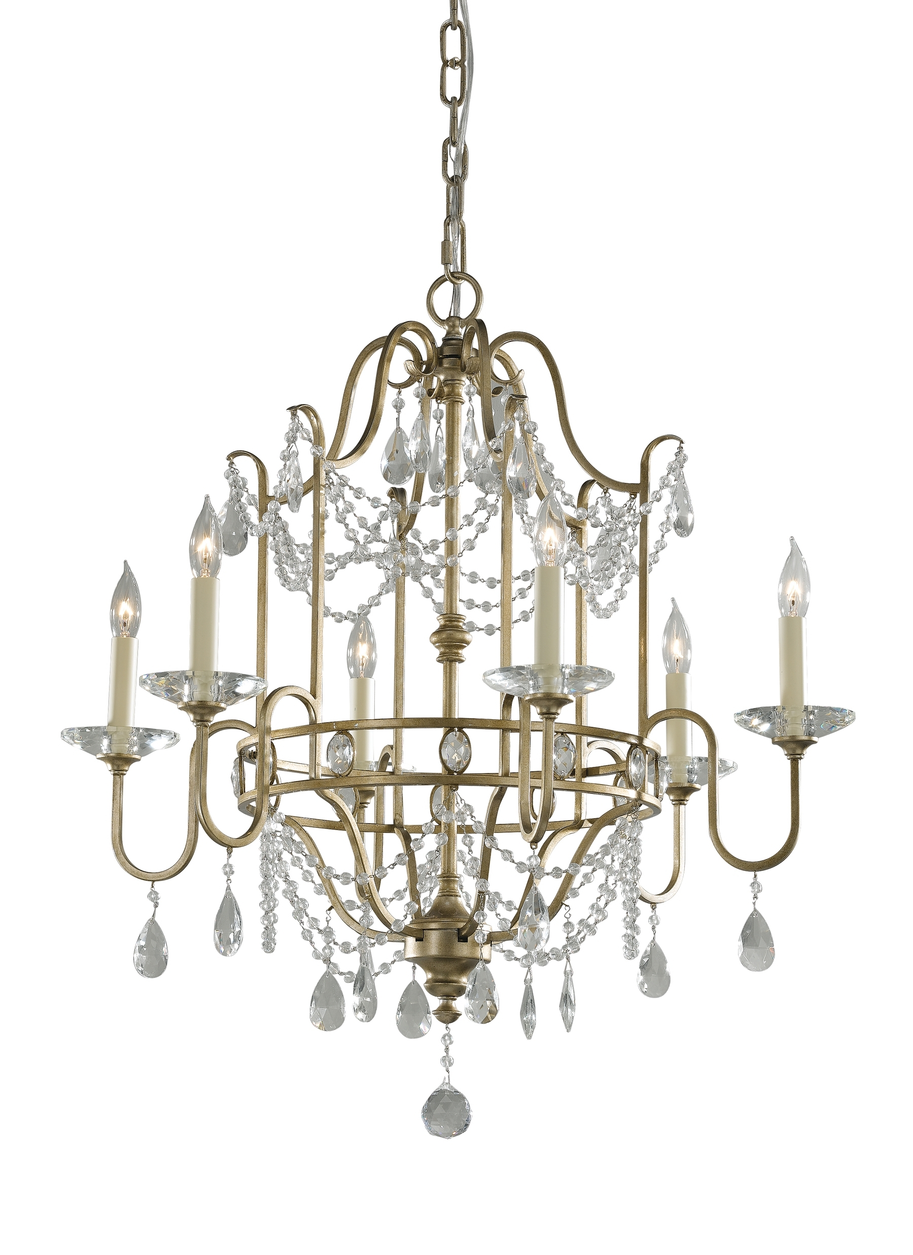 F2475/6Gs,6 – Light Single Tier Chandelier,gilded Silver Inside Widely Used Gianna Mini Chandeliers (View 3 of 15)