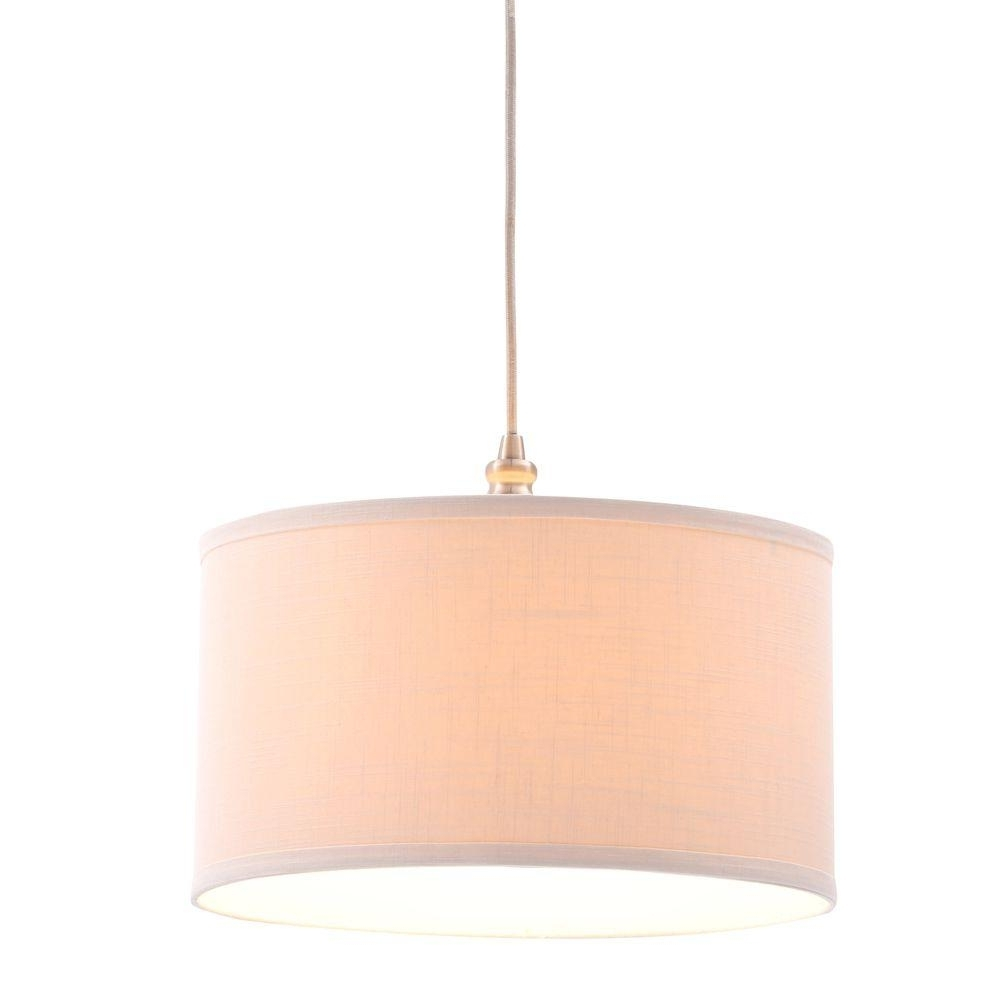 Fabric Drum Shade Chandeliers For Current Hampton Bay Carroll 1 Light Oil Rubbed Bronze Pendant With Fabric (View 11 of 15)