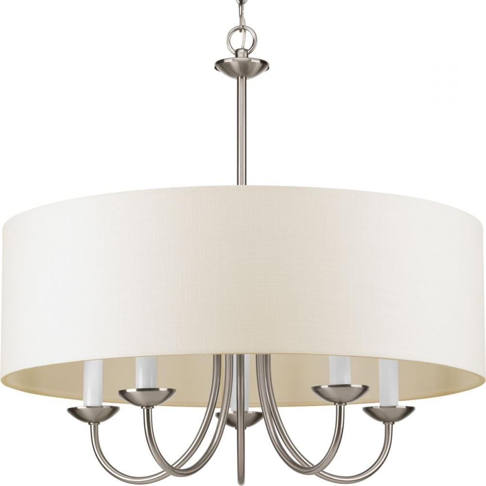 Fabric Drum Shade Chandeliers For Well Liked Five Light Brushed Nickel Off White Glass Drum Shade Chandelier (View 4 of 15)