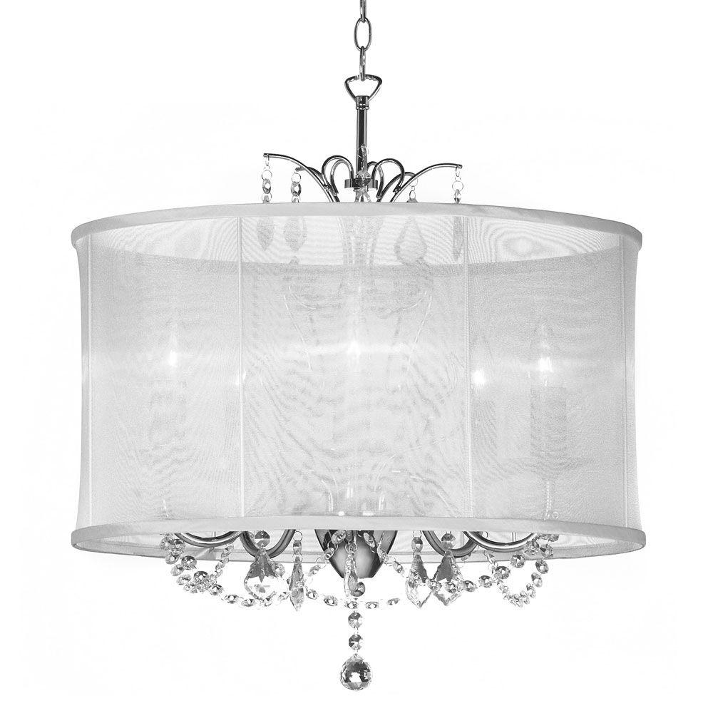 Fabric Drum Shade Chandeliers In Most Current Radionic Hi Tech Vanessa 5 Light Polished Chrome Maple Droplets (View 15 of 15)