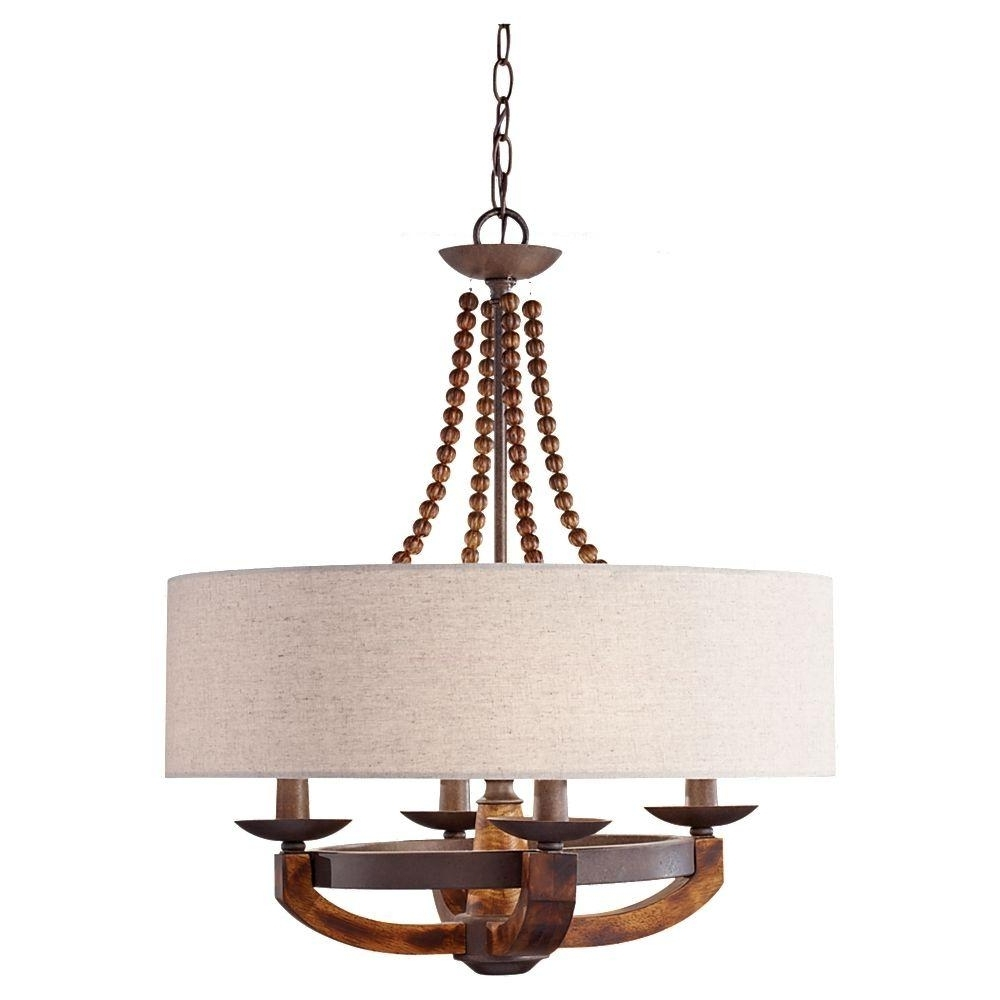 Fabric Drum Shade Chandeliers With Widely Used Feiss Adan 4 Light Rustic Iron/burnished Wood Billiard Island (View 5 of 15)