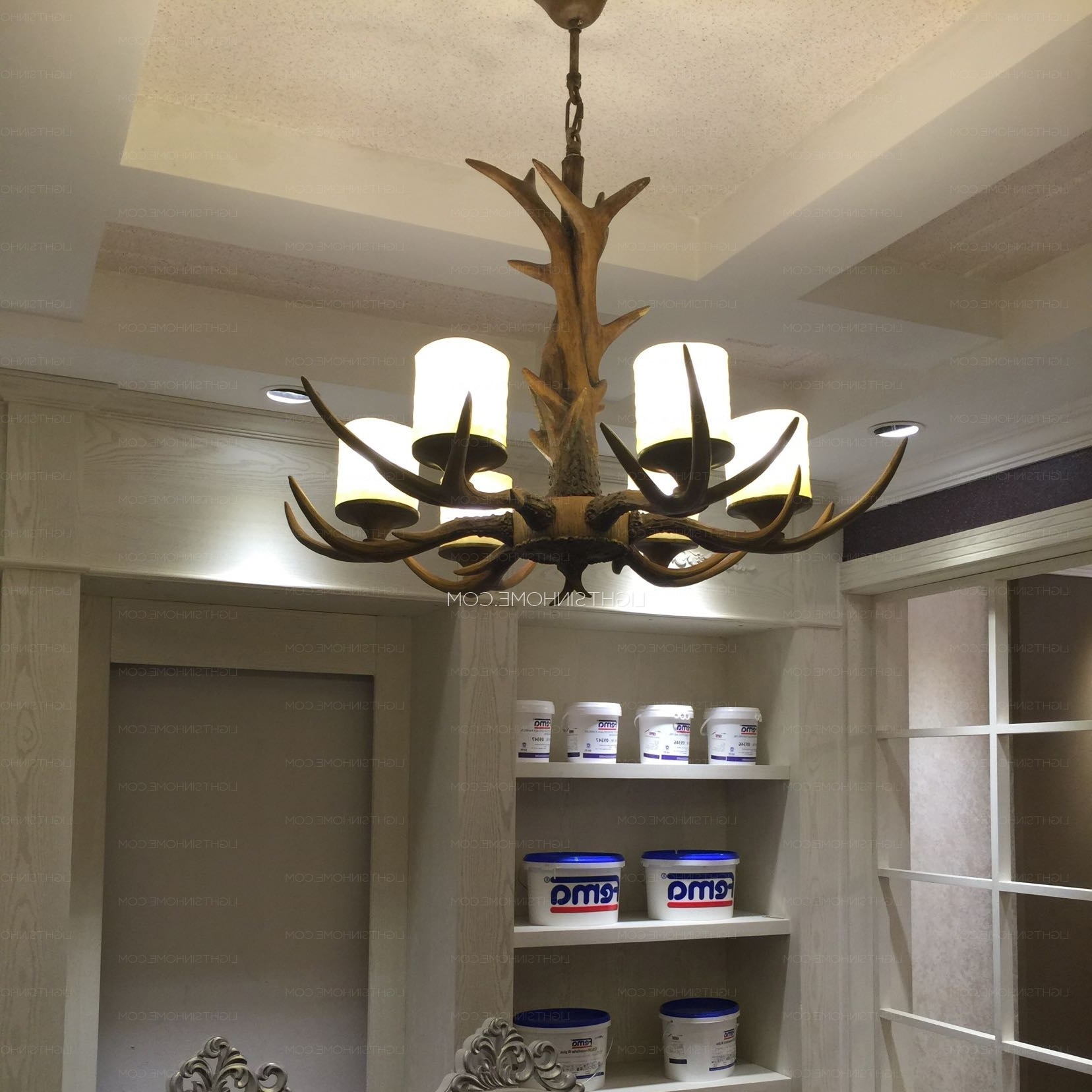 Famous 6 Light Resin Cylinder Shade Glass Antler Chandelier Pertaining To Turquoise Antler Chandeliers (View 11 of 15)