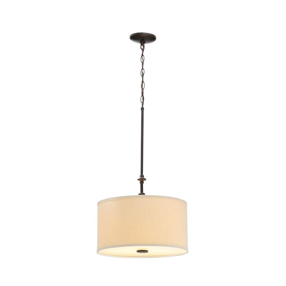 Famous Hampton Bay Quincy 2 Light Oil Rubbed Bronze Drum Pendant With Throughout Fabric Drum Shade Chandeliers (View 10 of 15)