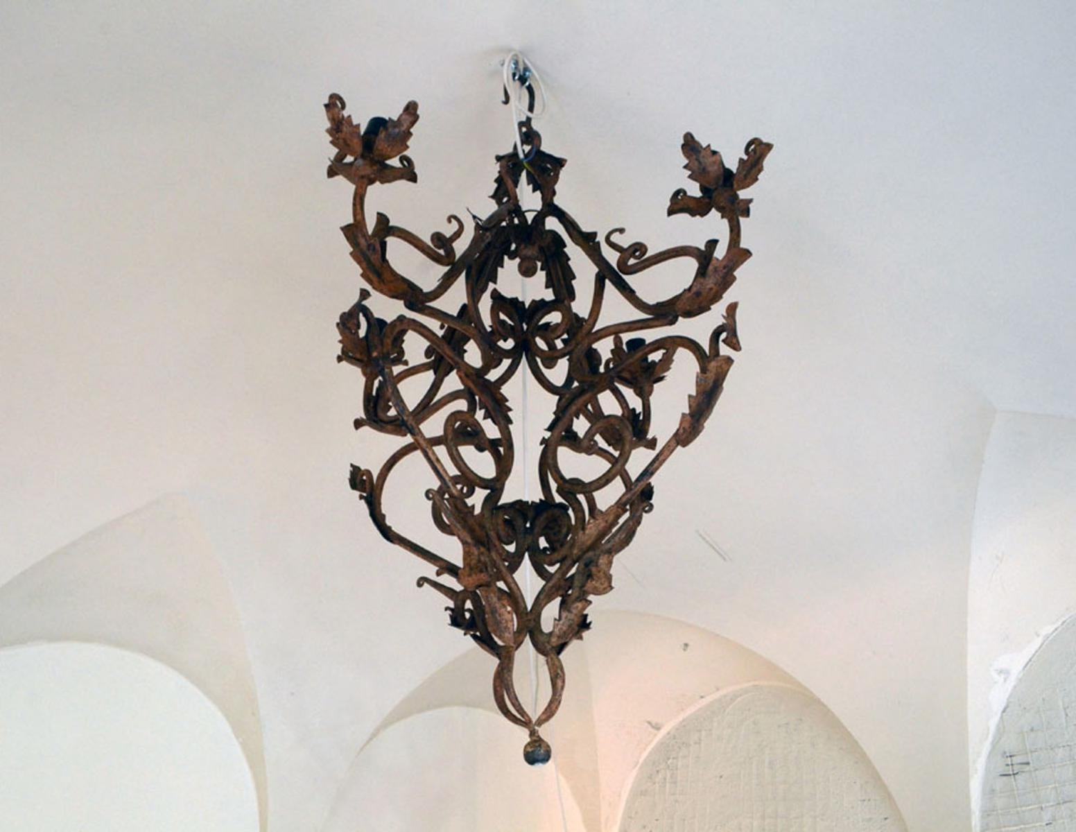 Famous Hand Made Wrought Iron Chandelier, 1800S For Sale At Pamono Inside Wrought Iron Chandelier (View 13 of 15)