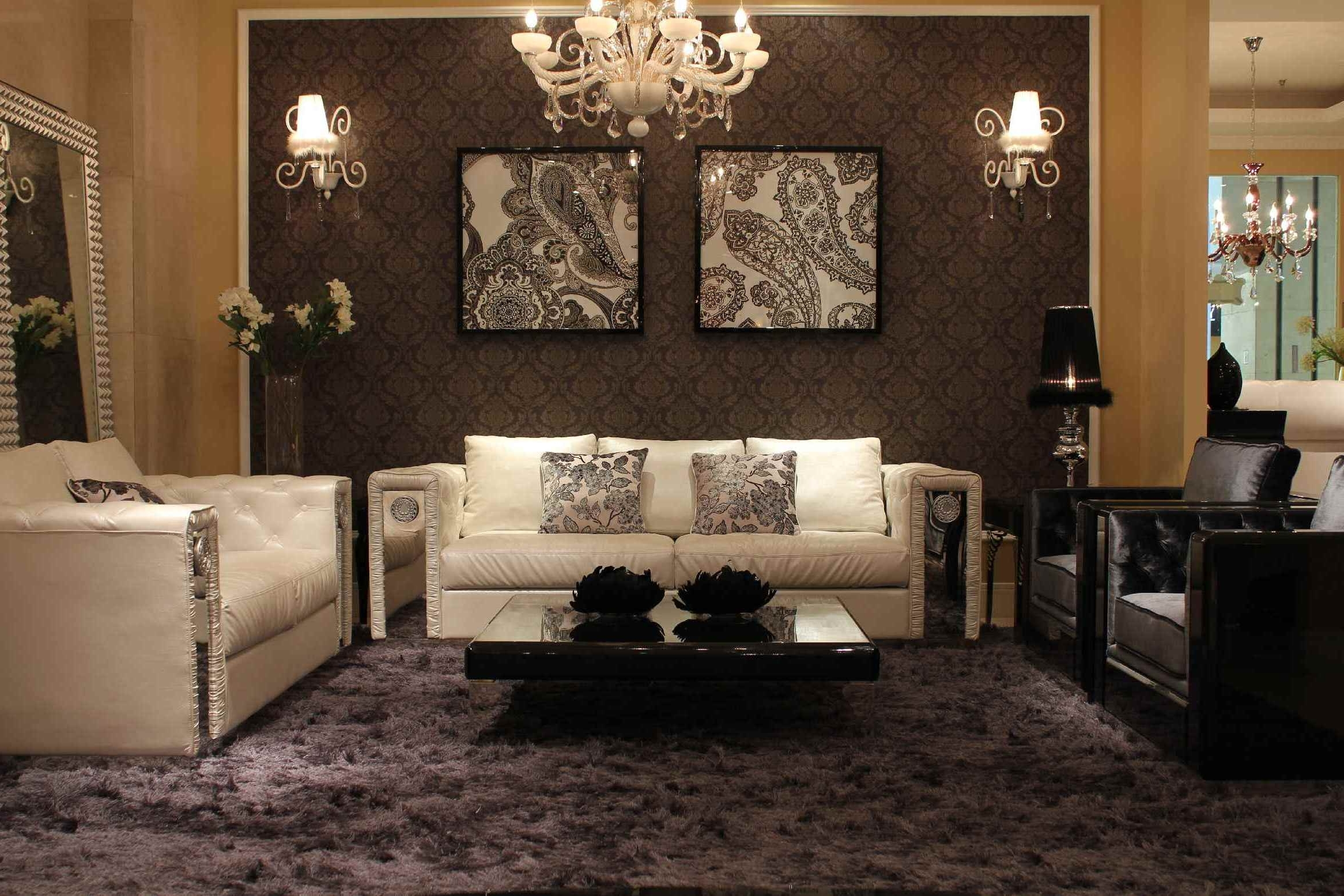 Famous Interior Luxury Ideas Of Living With Crystal Chandelier And Wall Intended For Wall Mounted Chandelier Lighting (View 4 of 15)