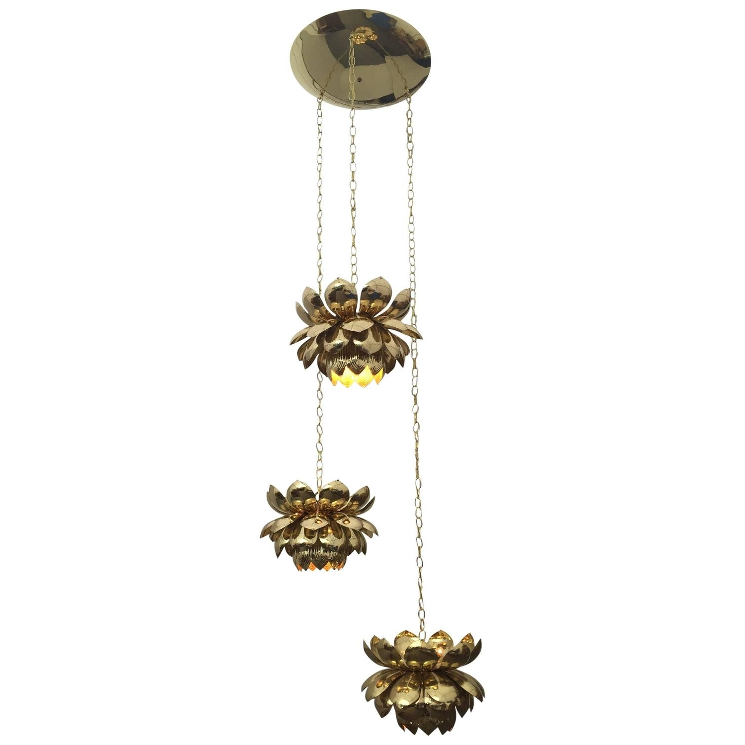 Famous Large Brass Chandelier Throughout Massive Feldman Brass Chandelier With Large Lotus Pendants For Sale (View 3 of 15)