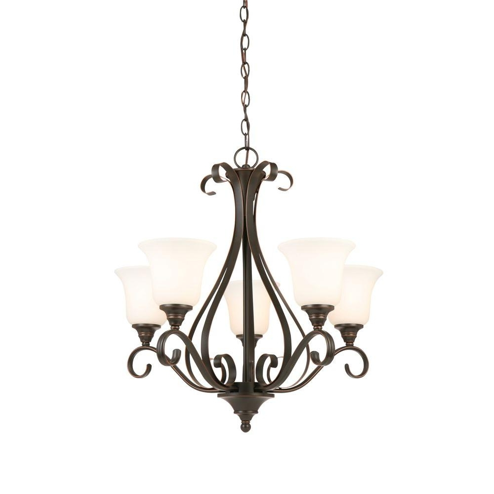 Famous Light Fitting Chandeliers Throughout Hampton Bay 5 Light Oil Rubbed Bronze Chandelier With Frosted White (View 8 of 15)
