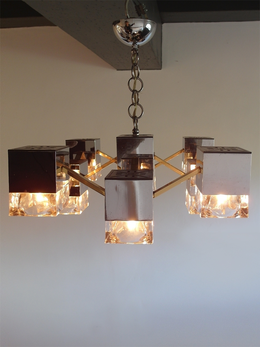 Famous Mirrored Chandelier With Glass Cubes And Brassgaetano Sciolari In Mirrored Chandelier (View 2 of 15)