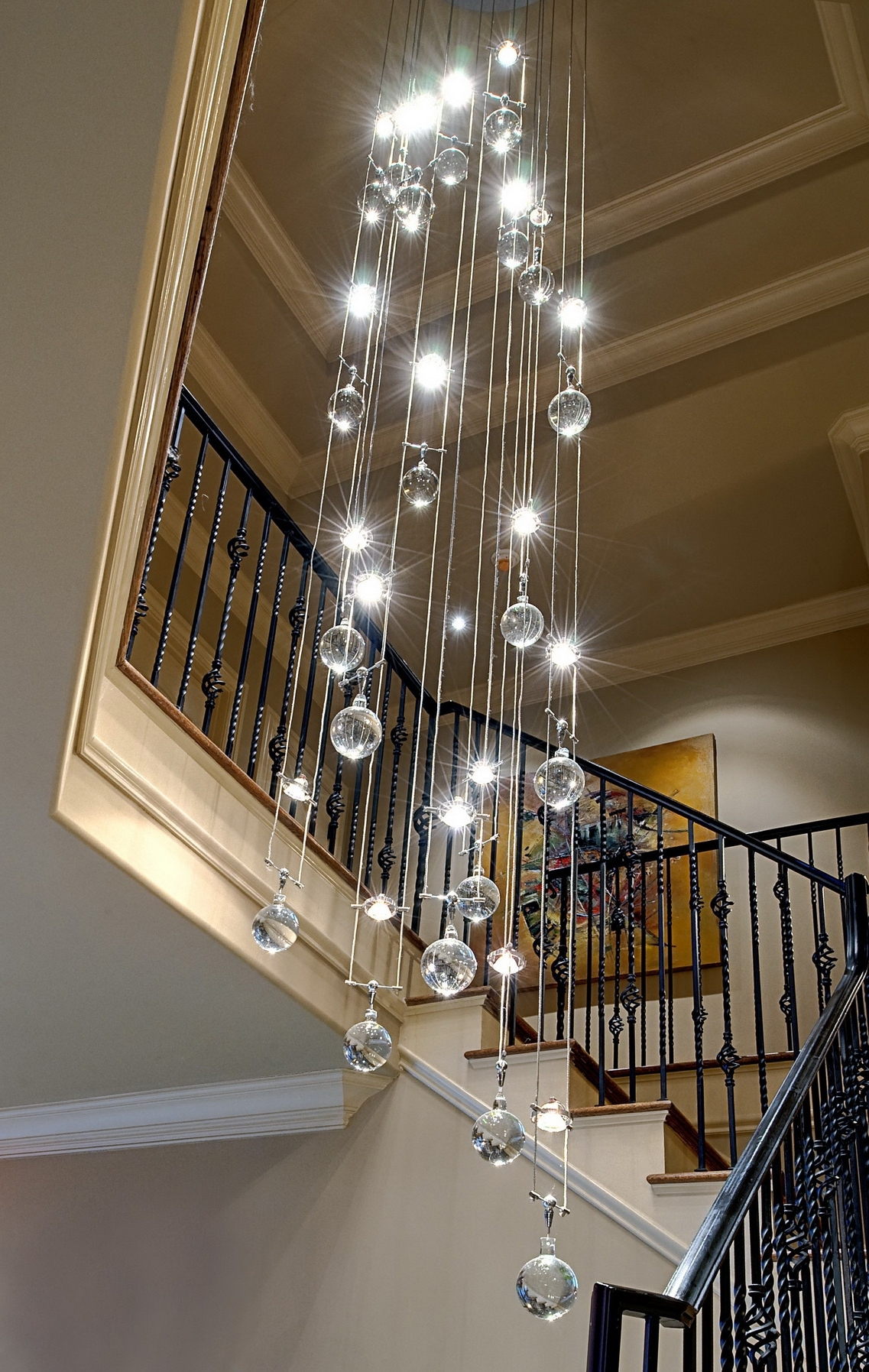 Famous Modern Chandeliers Throughout Interior: Modern Chandeliers For High Ceiling With Sparkly Crystals (View 10 of 15)