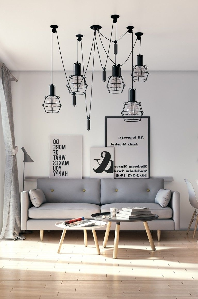 Famous Scandinavian Chandeliers In Scandinavian Living Room (View 14 of 15)