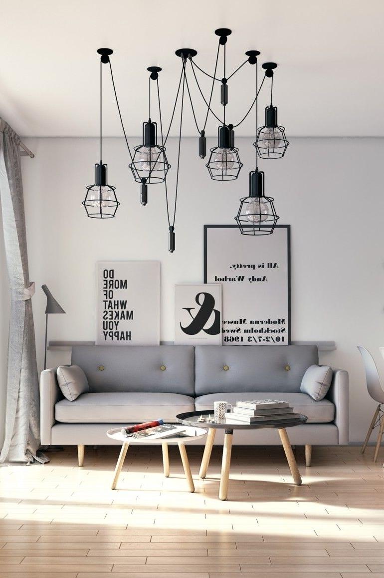 Famous Scandinavian Chandeliers In Scandinavian Living Room (View 2 of 15)