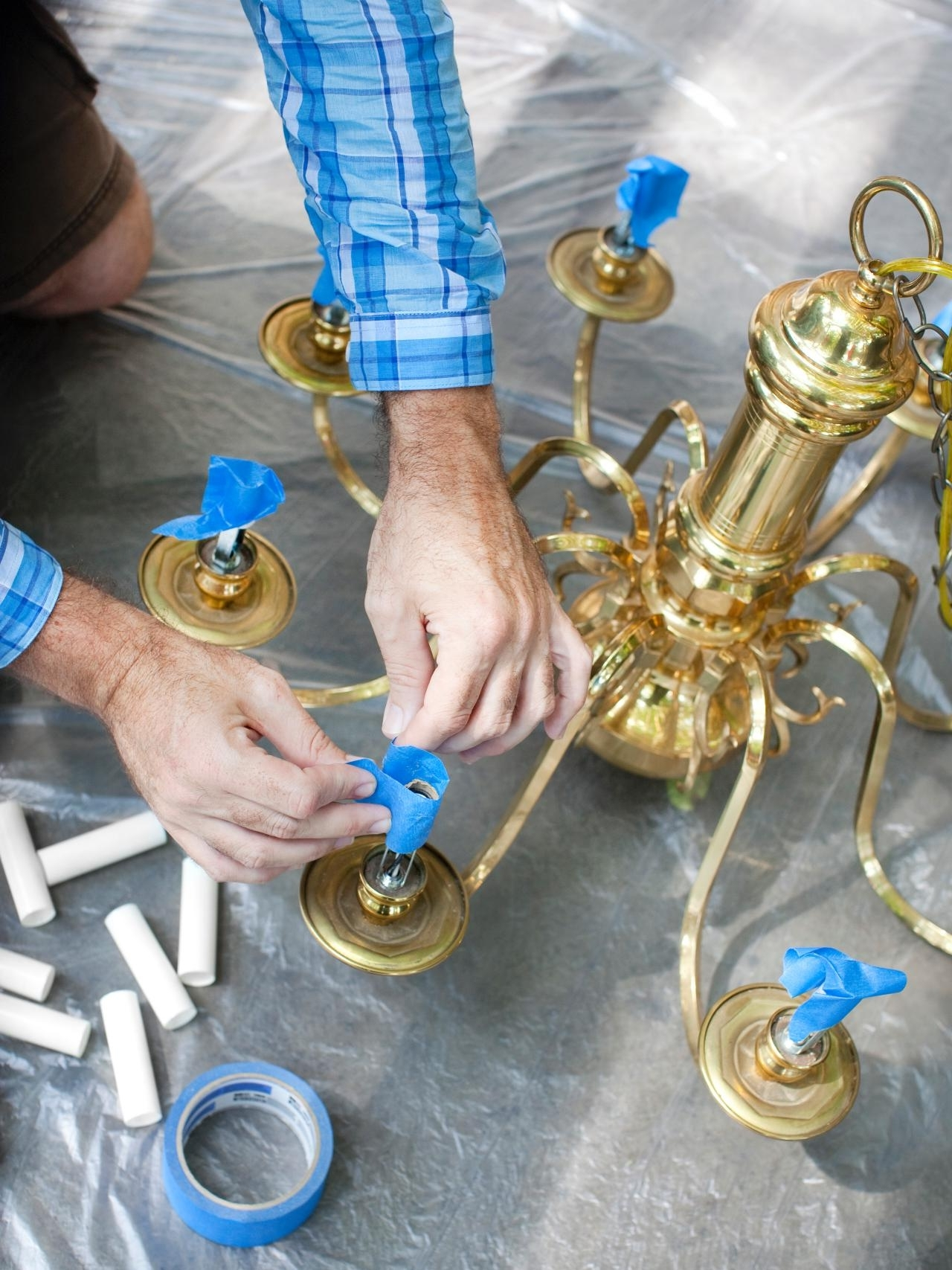 Famous Traditional Brass Chandeliers With How To Modernize A Traditional Brass Chandelier (View 5 of 15)