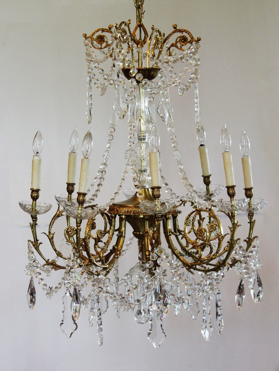 Famous Vintage French Chandeliers With Regard To Antique Rare Baccarat Gilt Bronze Crystal Chandelier Showstopper (View 2 of 15)