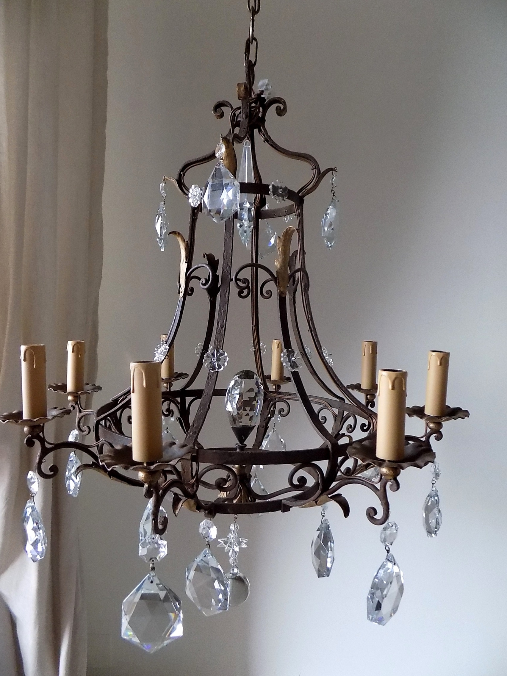 Famous Wrought Iron Chandeliers Intended For Antique French Massive Hand Forged Wrought Iron Chandelier – Lorella Dia (View 2 of 15)