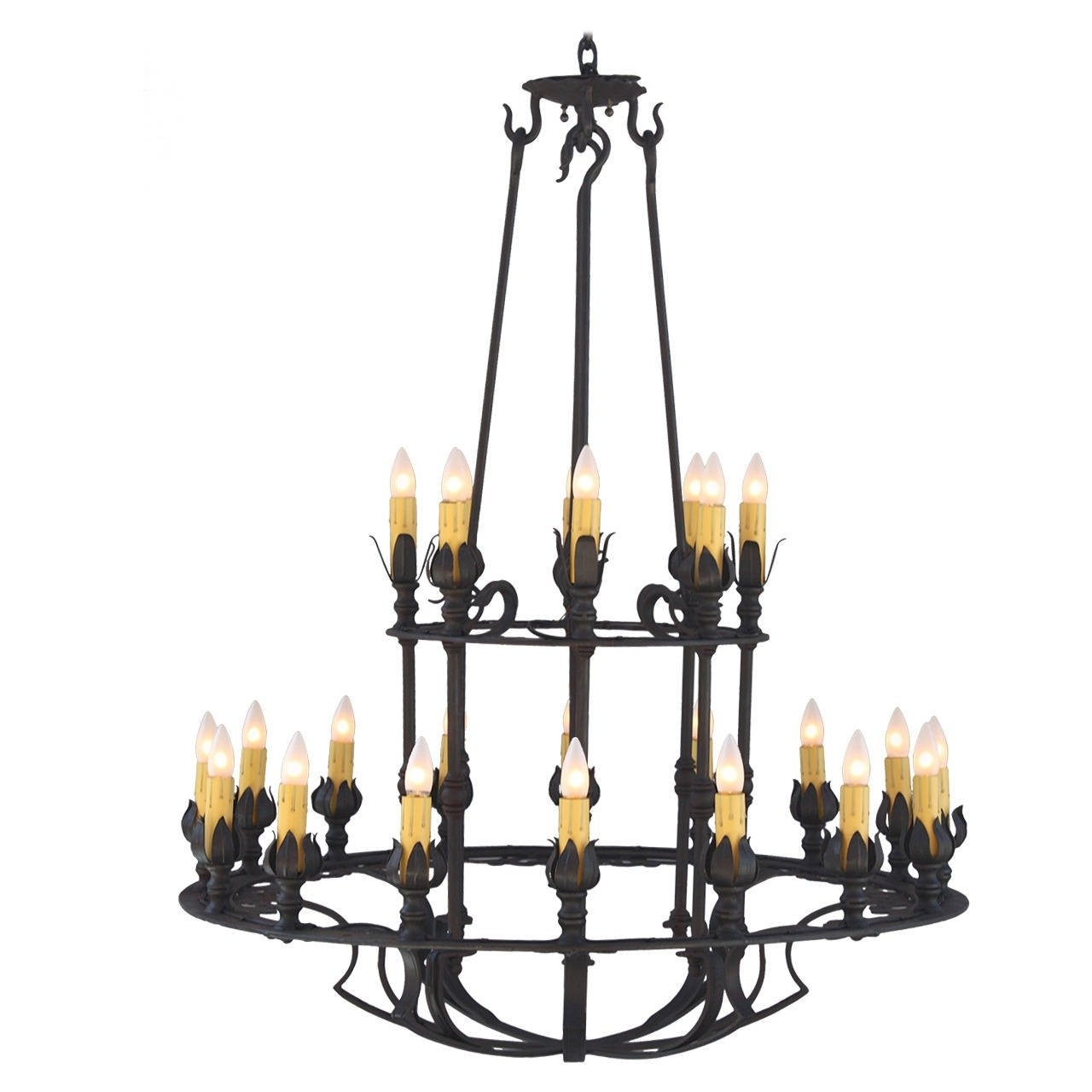 Fashionable Iron Chandelier Regarding Two Tier Wrought Iron Chandelier For Sale At 1Stdibs (View 7 of 15)